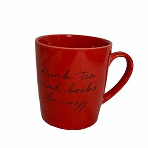 3/$30 Indigo Drink Tea Read Books Be Cozy Red Mug